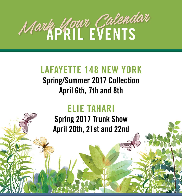 Mark Your Calendars | April Events!!