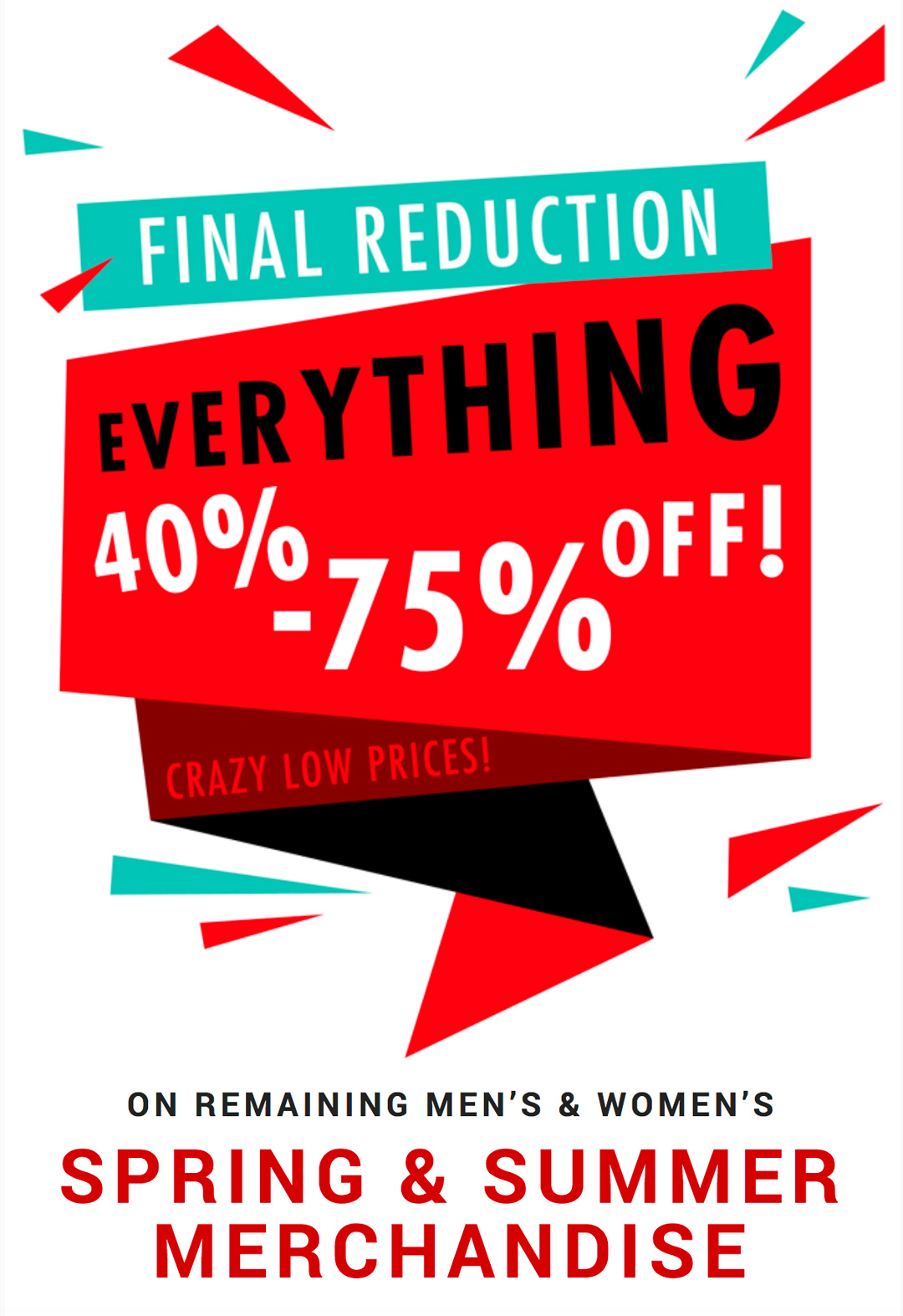 Final Reduction   Everything 40-50% Off
