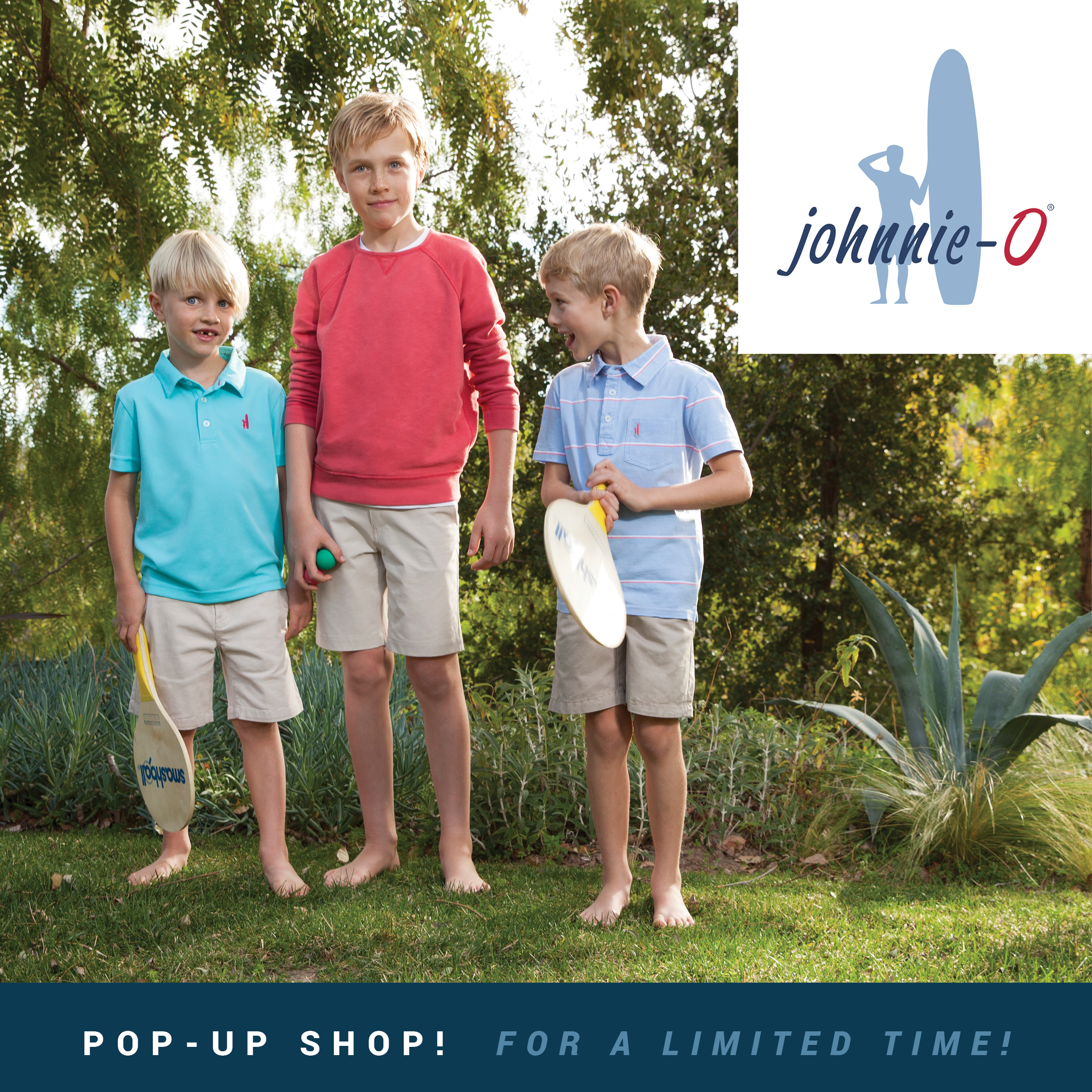 For a limited time shop our Johhnie-O Boys Pop-Up Shop at the Ladies Store!